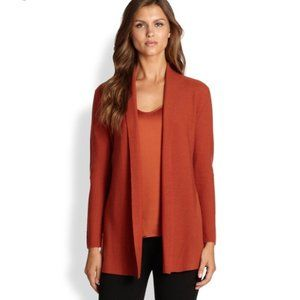 Eileen Fisher Rust Open Front Cardigan Size Large